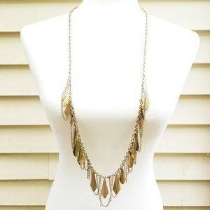 Boho Fringe Tassel Long Gold Tone Necklace